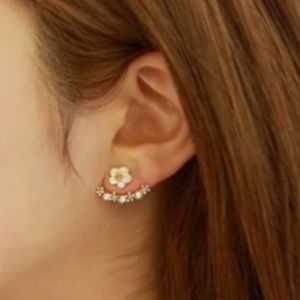 Floral Jacket Earrings-Silver with white flowers